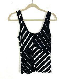 Volcom striped tank top black white knit Sz S